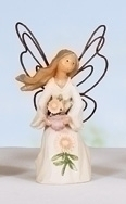 Set Of 4 September Monthly Angel With Aster Figurines #49309